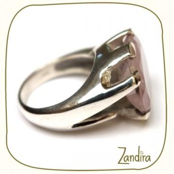 Bague ovale quartz rose et argent