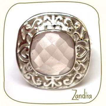 Bague pierre quatrz rose facettée carrée