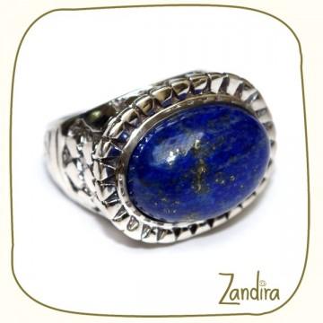 Bague ovale en argent et pierre bleue (lapis-lazuli)