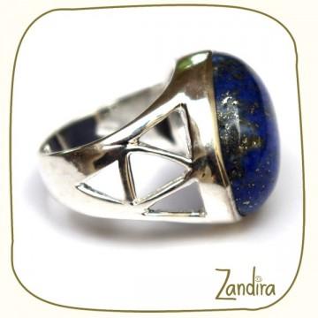 Bague en argent et 2 pierres de lapis-lazuli