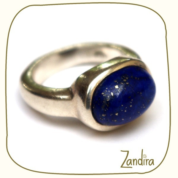 Bague simple en argent et lapis-lazuli