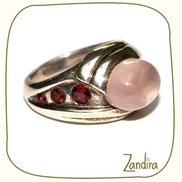 Bague quartz rose et grenat
