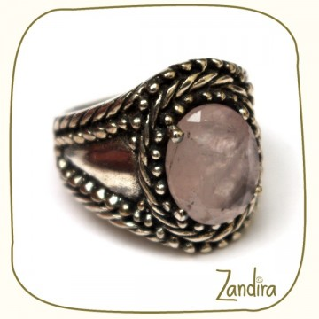 Bague indienne en quartz rose et argent