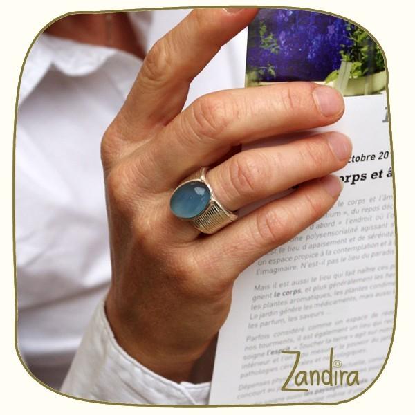Bague onyx bleu et argent