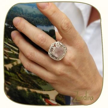 Bague carrée quartz rose et argent
