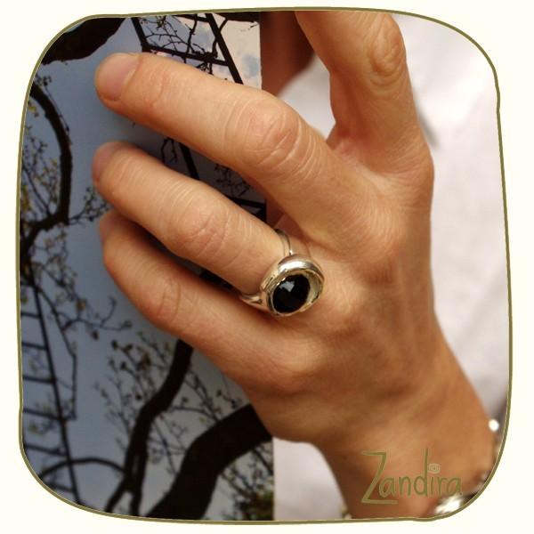 Bague féminine onyx noir