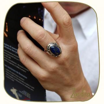 Grosse lapis lazuli ovale sur argent