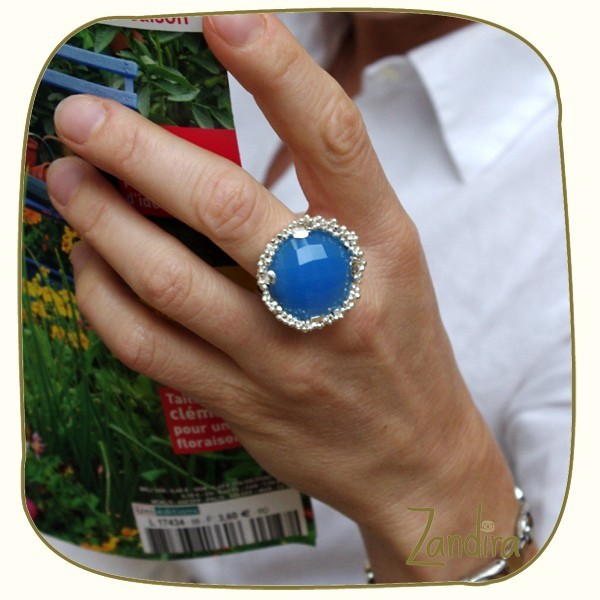 Grosse bague argent et onyx bleu