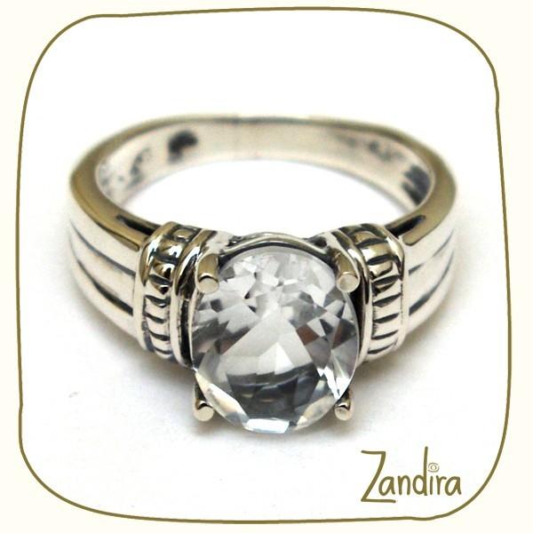 Bague argent et cristal de roche imitation diamant