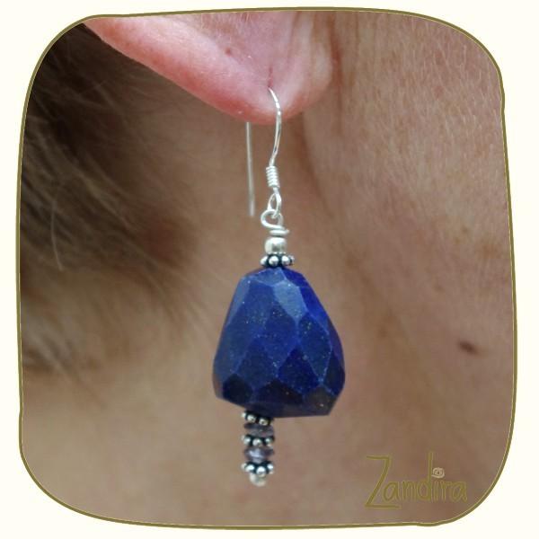 Boucles d'oreilles en lapis lazuli et argent - Pierre bleue