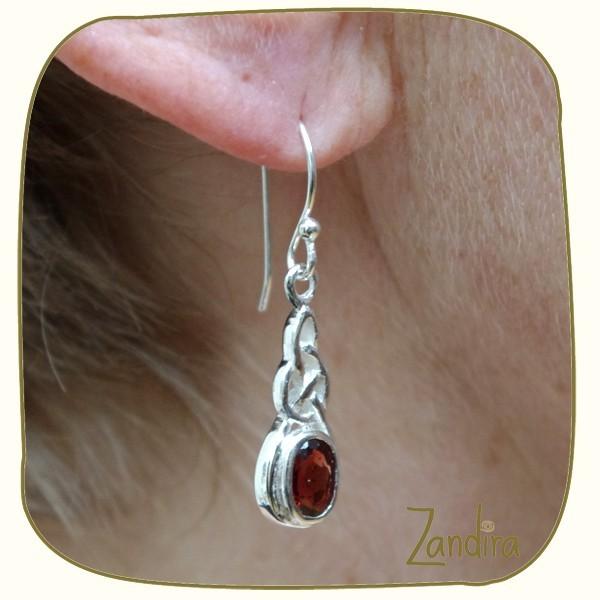 Boucles d'oreilles en grenat et argent - Pierre rouge