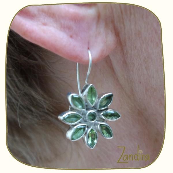 Boucles d'oreilles en peridot et argent - Pierre verte