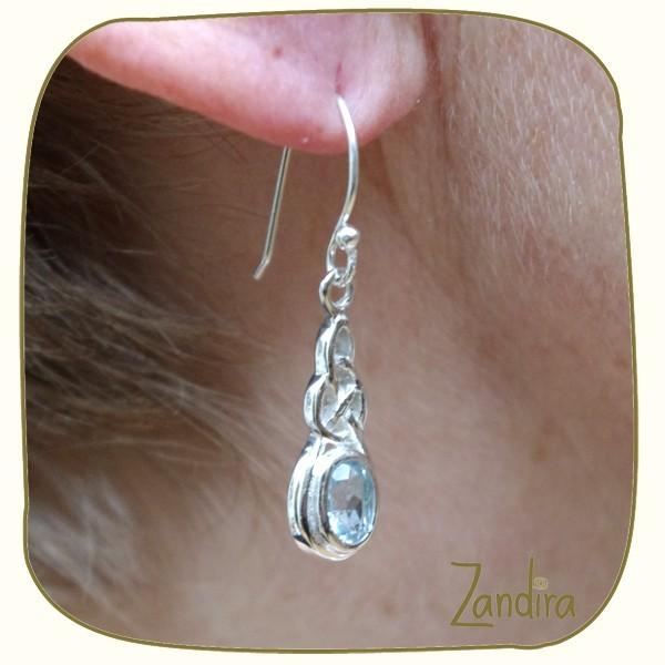 Boucles d'oreilles en topaze et argent - Pierre bleue