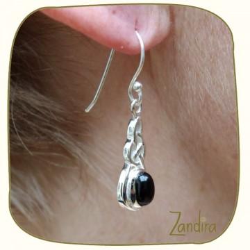 Boucles d'oreilles en onyx et argent - Pierre noire