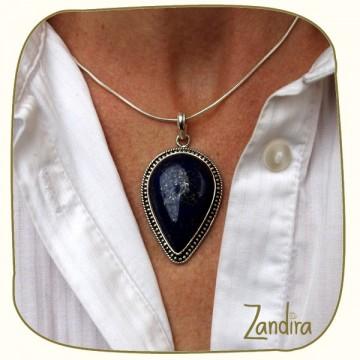 Gros pendentif en lapiz lazuli et argent - Bleu
