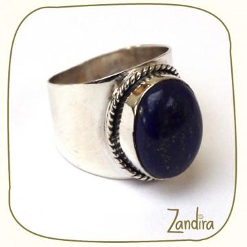 Bague large en lapis-lazuli et argent