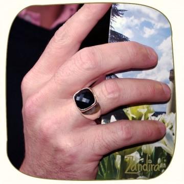 Onyx noir pour homme - Bague